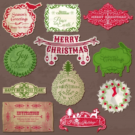 christmas wreath: Christmas Calligraphic Design Elements and Vintage Frames  Illustration