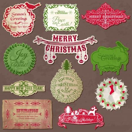 snow wreath: Christmas Calligraphic Design Elements and Vintage Frames  Illustration