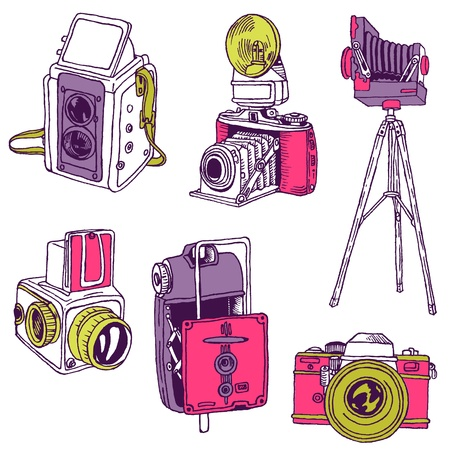 home video camera: Set of Photo Cameras - hand-drawn doodles