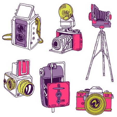 camera flash: Set of Photo Cameras - hand-drawn doodles