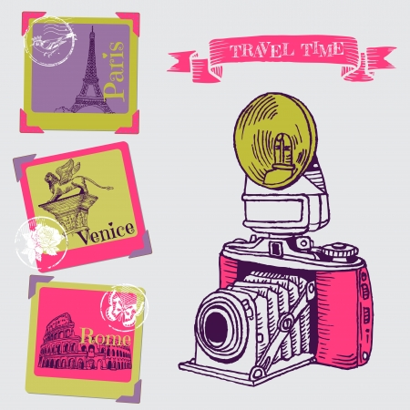vintage paris: Lovely Card - Vintage Camera with Europe Architecture Illustration