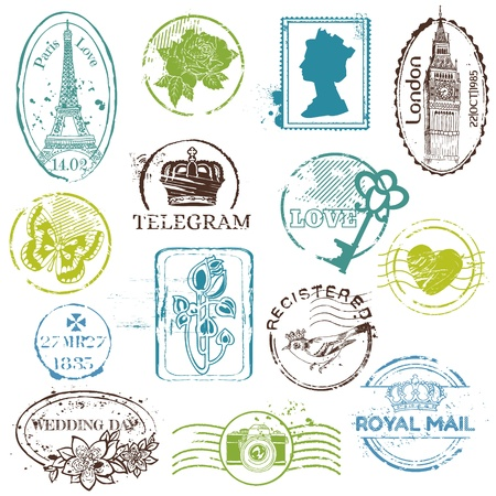 sello postal: Rubber Stamp Vintage Collection - para su dise�o, libro de recuerdos Vectores