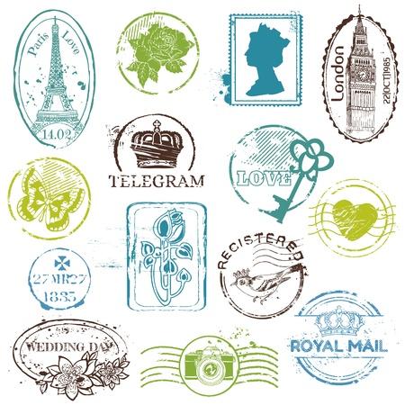 Vintage Rubber Stamp Collection - voor uw ontwerp, plakboek Vector Illustratie