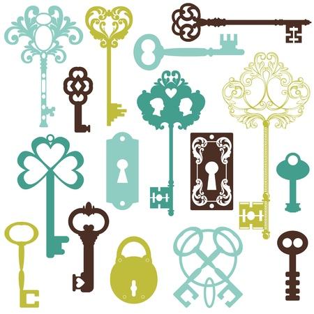 oude sleutel: Het verzamelen van antieke sleutel - voor uw ontwerp of plakboek Stock Illustratie