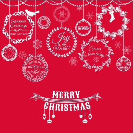 decoraciones de navidad: Vintage Christmas Card - para el diseño y libro de recuerdos