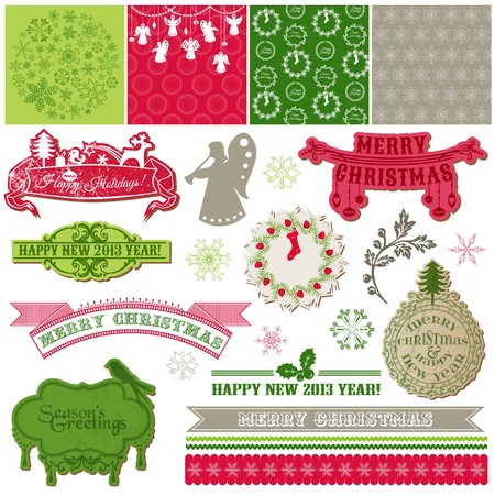 snow wreath: Scrapbook Design Elements - Vintage Merry Christmas and New Year