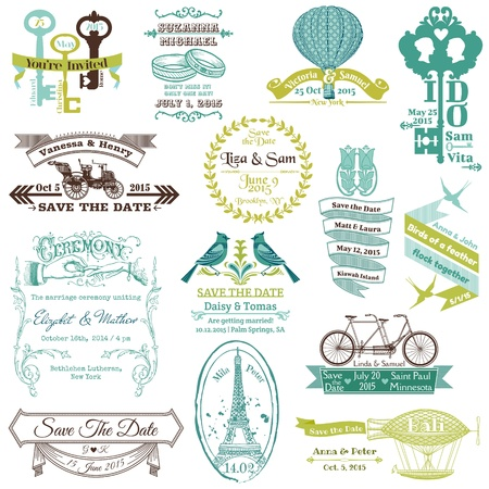 wedding card design: Wedding Vintage Invitation Collection - for design, scrapbook  Illustration