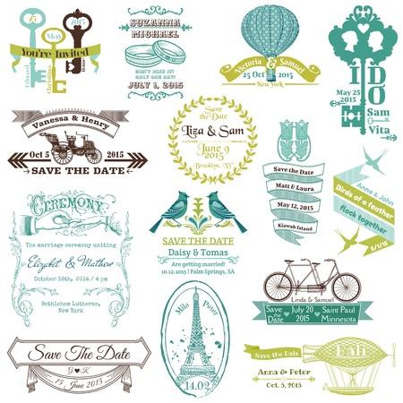 Wedding Vintage Uitnodiging Collection - voor ontwerp, plakboek Stock Illustratie