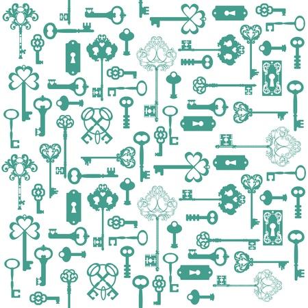 oude sleutel: Antique Keys Achtergrond - voor uw ontwerp of plakboek -
