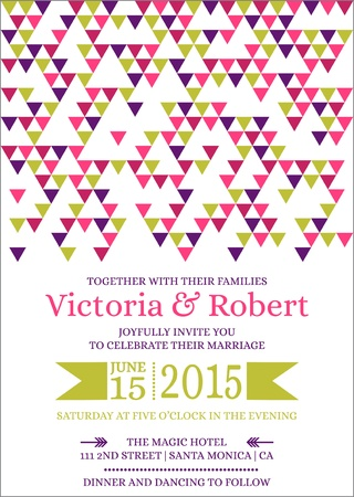 Wedding Colorful Invitation Card Stock Vector - 15356312