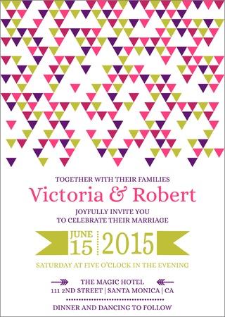 caligraphic: Wedding Colorful Invitation Card