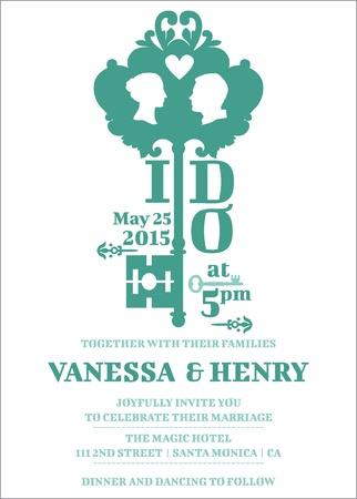 tarjeta de invitacion: Tarjeta de la invitación de la boda - Tema Key