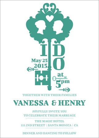 Wedding Invitation Card - Key Theme   Vector