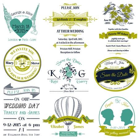 Colección de la boda invitación de la vendimia - para el diseño, libro de recuerdos Ilustración de vector