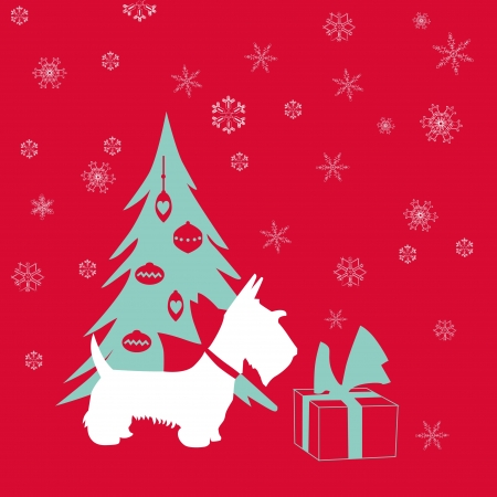 Cute Christmas Card - Scottish Terrier with present  Vector