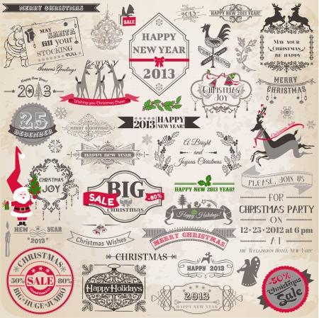 renna: Set: Elementi di design di Natale calligrafico e pagina decorazione, Cornici d'epoca