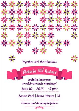 Wedding Colorful Invitation Card  Stock Vector - 15439672