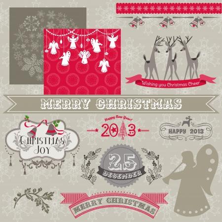 campanas de navidad: Elementos de diseño del libro de recuerdos - Vintage Feliz Navidad y Año Nuevo