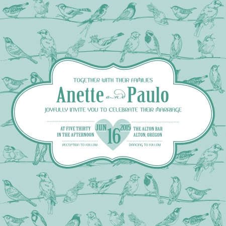 Wedding Vintage Invitation Card with Birds  Vector
