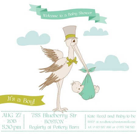 Baby Shower Card with Stork - with place for your text - in vector Stock Vector - 15571519