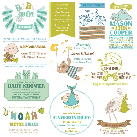 cute baby girls: Baby Arrival and Shower Collection - for card design, scrapbook - in vector Illustration