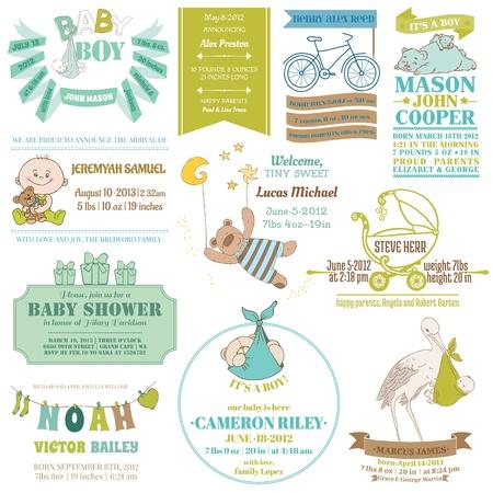 cigue�a: Llegada del beb� y la colecci�n Ducha - para el dise�o de tarjetas, libro de recuerdos - en vector Vectores