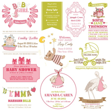 baby girl background: Baby Arrival and Shower Collection - for card design, scrapbook - in vector Illustration