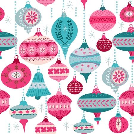 빈티지 크리스마스 배경 - 크리스마스 트리 공 - 디자인과 스크랩북 - 벡터