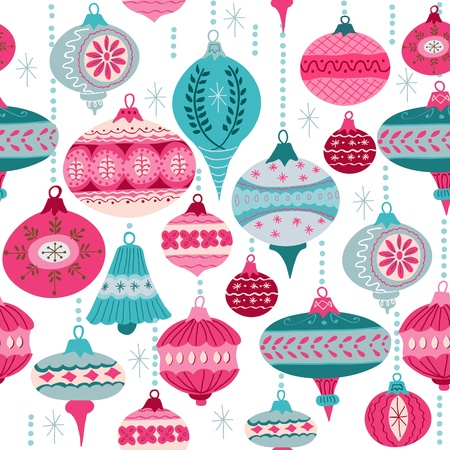 Vintage Christmas Background - with christmas tree balls - for design and scrapbook - in vector