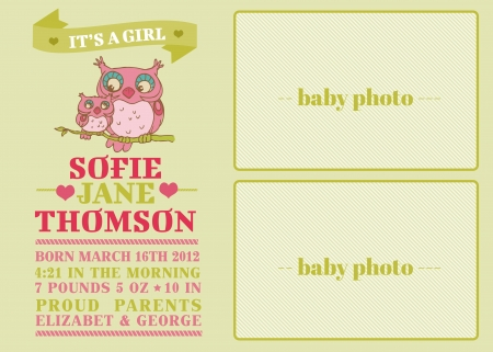 congratulate: Baby Arrival Card with Cute Owl - with place for your text and photo - in vector Illustration