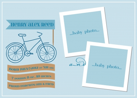 Baby Boy Arrival Card with Photo Frame  - in vector Stock Vector - 15571515