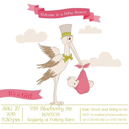 Baby Shower Card with Stork - with place for your text - in vector Stock Vector - 15571521