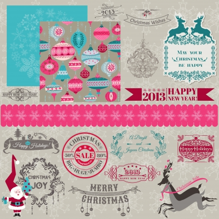 Scrapbook Design Elements - Vintage Merry Christmas and New Year - in vector Stock Vector - 15571530