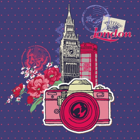 Scrapbook Design Elements - London Vintage Card with Camera and Stamps - in vector Vector