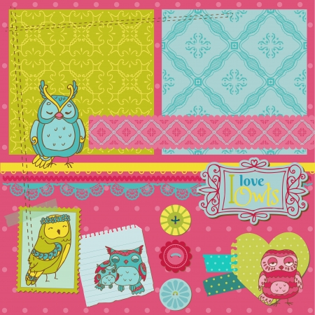 Scrapbook Design Elements - Little Owls Collection - hand drawn - in vector Stock Vector - 15571527