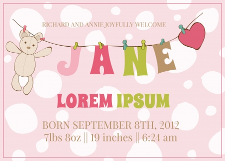 baby shower girl: Baby Girl Arrival Card with place for your text and baby name  Illustration