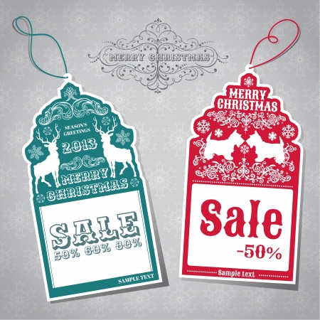 Christmas Sale Tags - for design and scrapbook  Vector