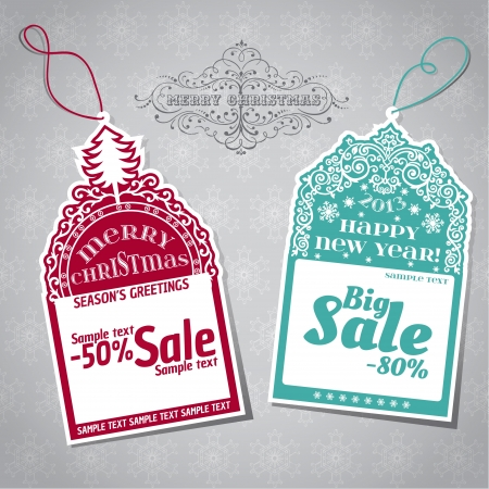 dog tag: Christmas Sale Tags - for design and scrapbook  Illustration