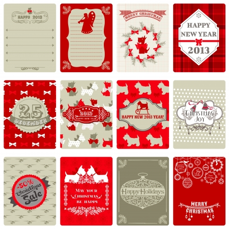 Set of Vintage Christmas Tags - for design or scrapbook  Vector