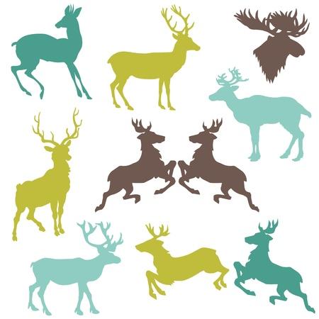 renos de navidad: Conjunto de siluetas del reno de Navidad - para su dise�o o �lbum de recortes Vectores
