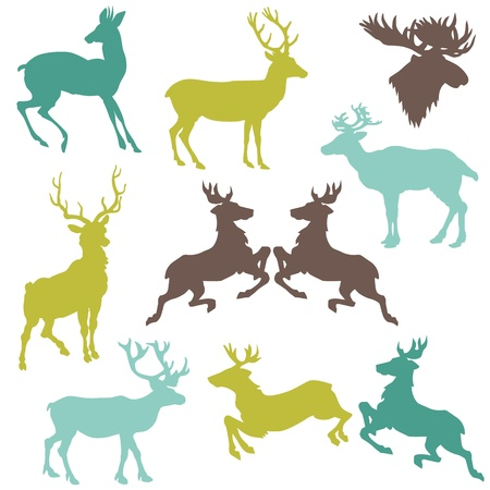 Set of Reindeer Christmas Silhouettes - for your design or scrapbook Ilustracja