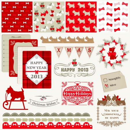 Scrapbook Design Elements - Vintage Christmas Dog  Vector