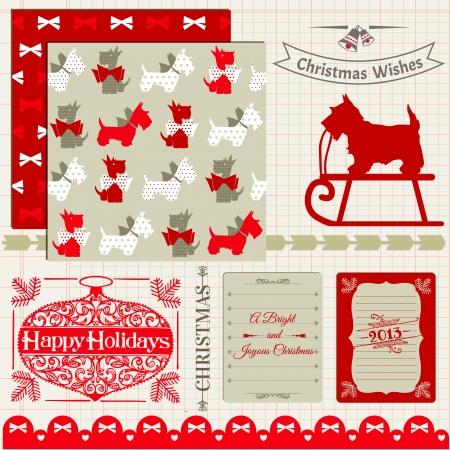 scottish terrier: Scrapbook Design Elements - Vintage Christmas Dog