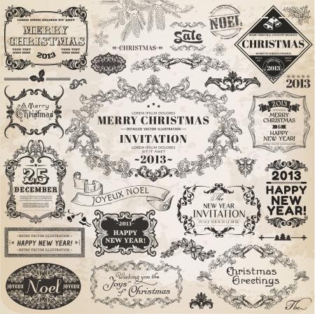 Set: Christmas Calligraphic Design Elements and Page Decoration, Vintage Frames