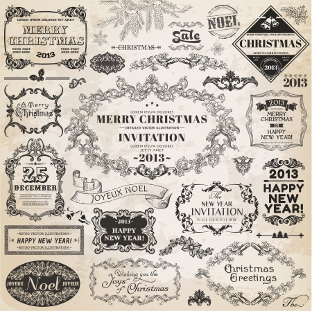 snow wreath: Set: Christmas Calligraphic Design Elements and Page Decoration, Vintage Frames