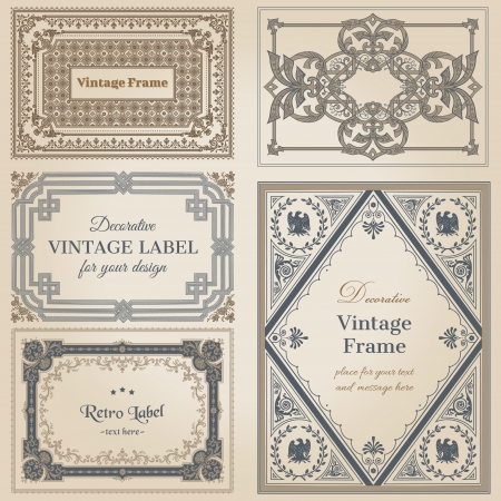 label frame: Vintage frames and design elements - with place for your text