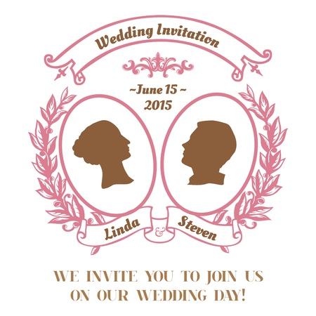 caligraphic: Wedding Vintage Invitation Card