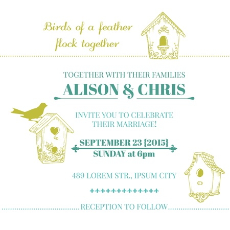 birdhouse: Wedding Vintage Invitation Card