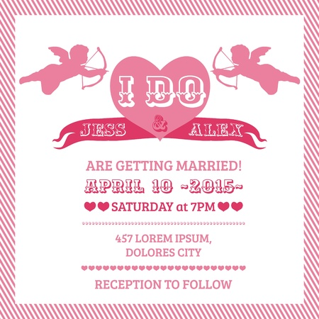 Wedding Angel Invitation Card Vector