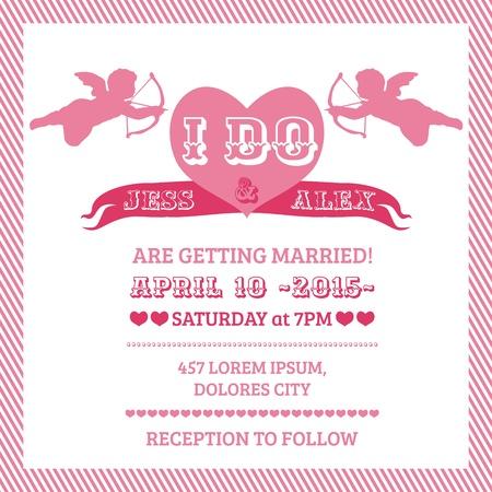caligraphic: Wedding Angel Invitation Card